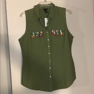 Sleeveless Button Up Vest with Gems